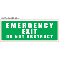 "Plastic ""EMERGENCY EXIT – DO NOT OBSTRUCT"" (Green)"