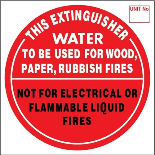 WATER - Extinguisher Identification Sign - Metal (193mm x 193mm)